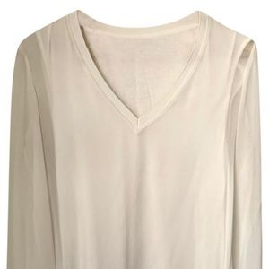 Zara white blouse with sheer sleeves